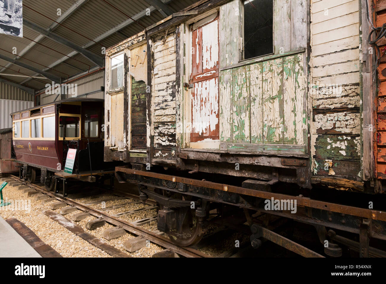 Old and vintage railway carriages / carriage awaiting restoration and refurbishment, in the Train Story museum main area at Havenstreet / Haven street station on the Isle of Wight steam Railway railway. Isle of Wight, UK. (98) Stock Photo