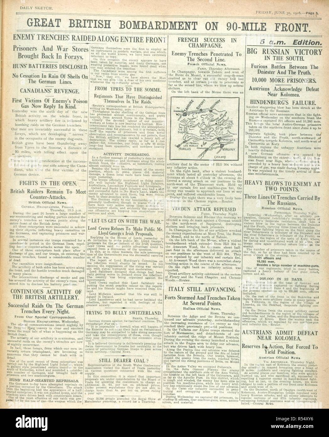 'Great British bombardment on 90 mile front'. A newspaper report during the First World War. The Sketch. London, 1916. Source: The Sketch, 30 June 1916, page 3. Stock Photo