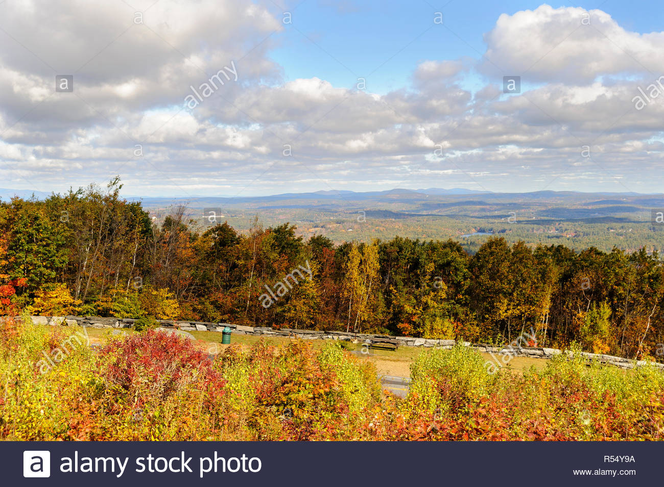 Fall day Wachusett Mountain clouds distant hills - Stock Image
