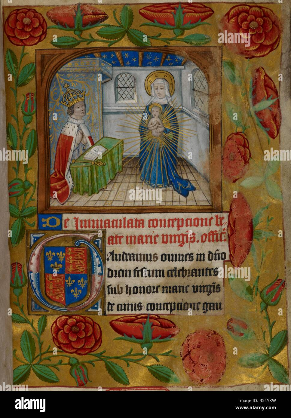 Henry VII crowned, kneeling at a desk, on which his sceptre is laid.The king is in Adoration of the Immaculate Conception of the Virgin. Border of red roses on gold ground, and illuminated initials. Office of the Mass for the Immaculate Conception of the Virgin Mary, with prayers, secretum and post. Communion for the king, Henry VII, in Latin. Source: Royal 2 A.XIX, f.1. Language: Latin. - Stock Image