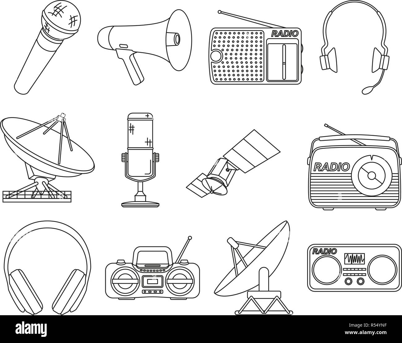 Line art black white 12 telecommunication elements - Stock Vector