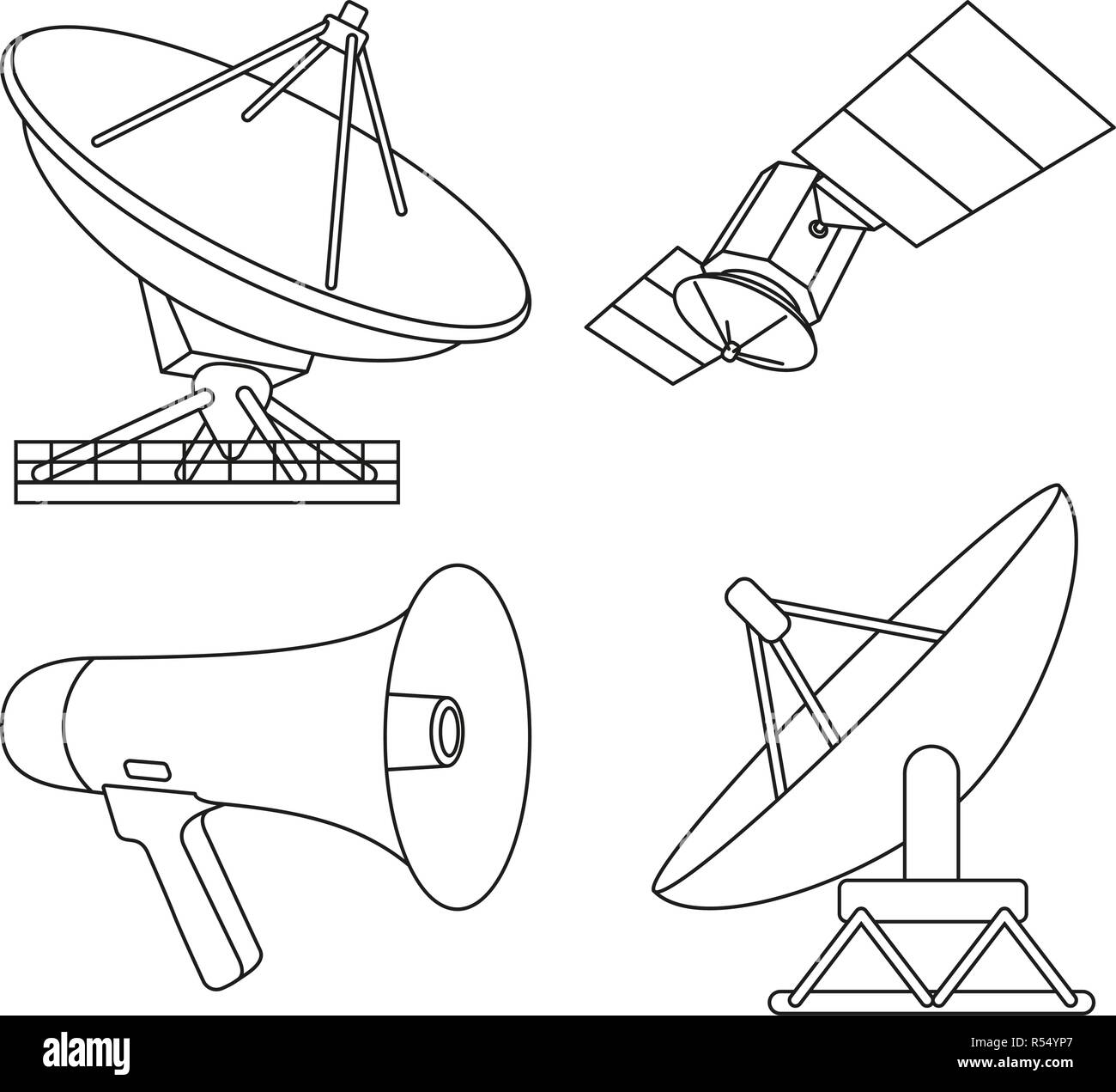 Line art black white 4 telecommunication elements - Stock Vector