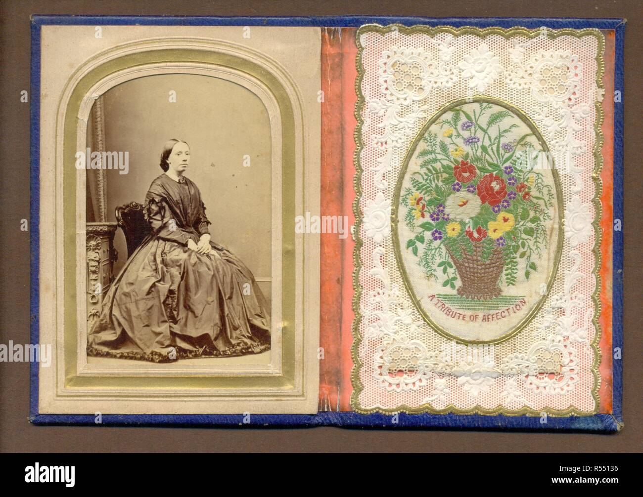 Carte de visite portrait in case with paper lace valentine with woven silk flowers onlay - Stock Image