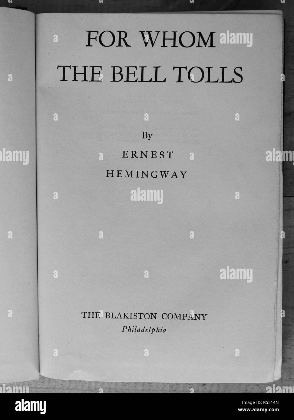 For Whom the Bell Tolls title page - Stock Image