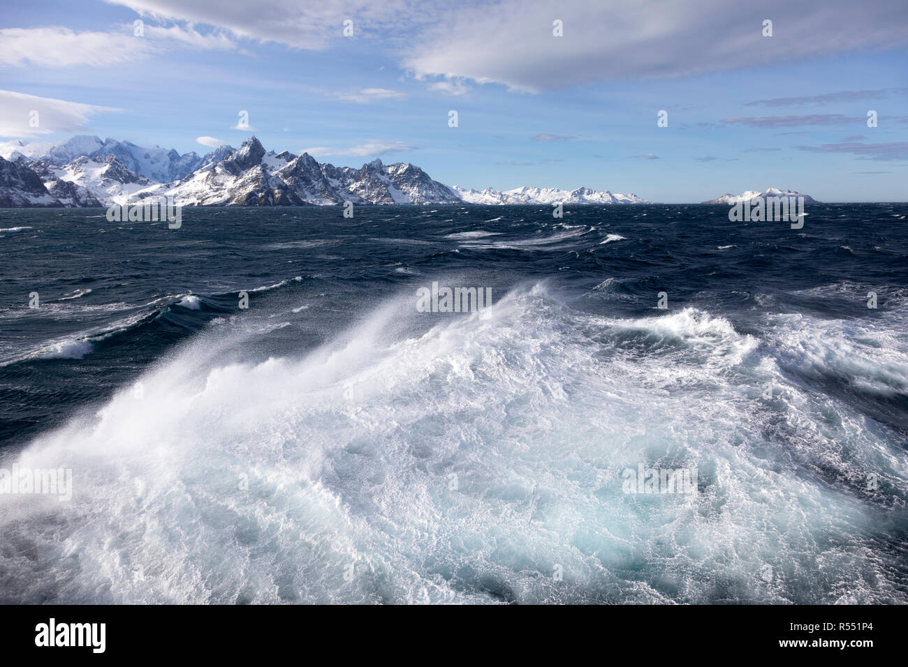 View of the spectacular snow covered mountains on South Georgia Island in the South Atlantic Island, Antarctica Stock Photo