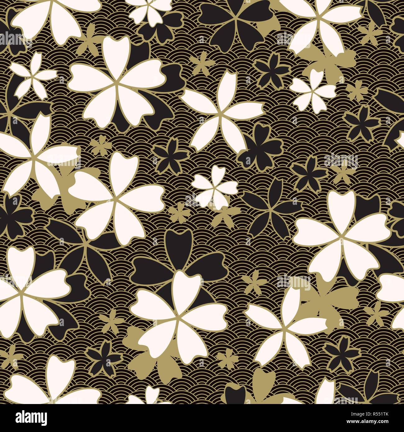 Japanese Classic Sakura Vector Seamless Pattern Floral In Black And Light Beige Colors Traditional Kimono Asian