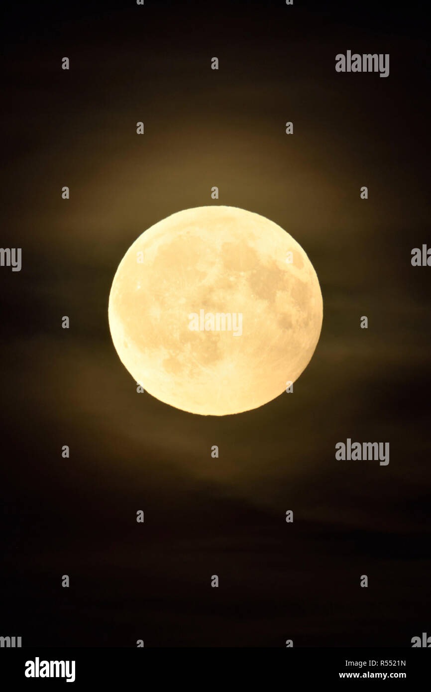 Full moon / Vollmond shining bright in dark night, amber moon with some few puffy, hazy clouds. - Stock Image