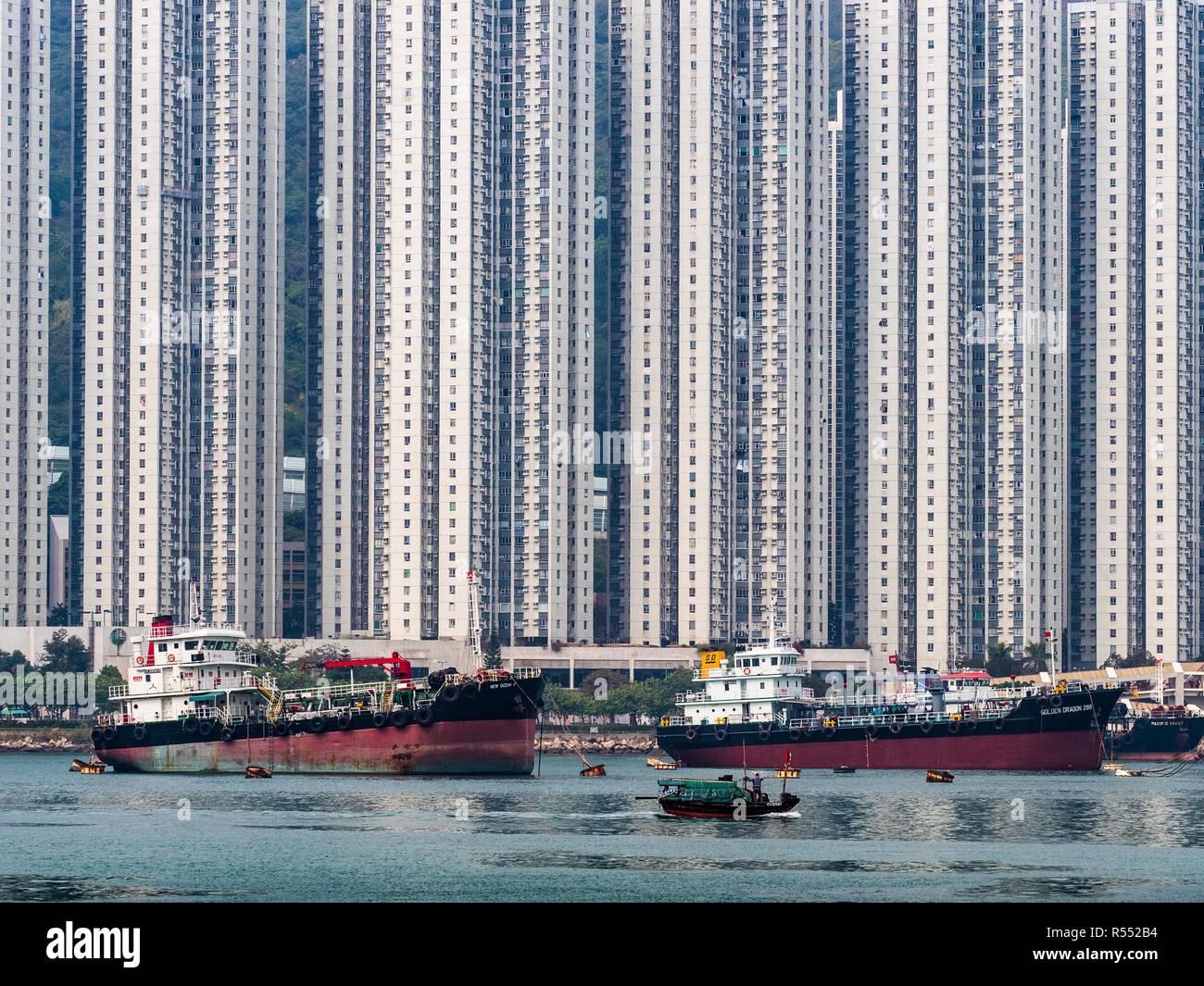 Hong Kong - High Density Private Housing in Belvedere Garden, Tsuen Wan, New Territories, Hong Kong,  Built between 1987 and 1991. - Stock Image