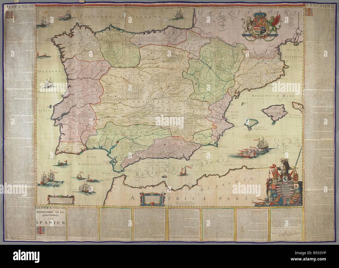 Map Of Spain 711.A Map Of Spain Insignia Regnorum Hispania Amsterdam Gedruckt Tot