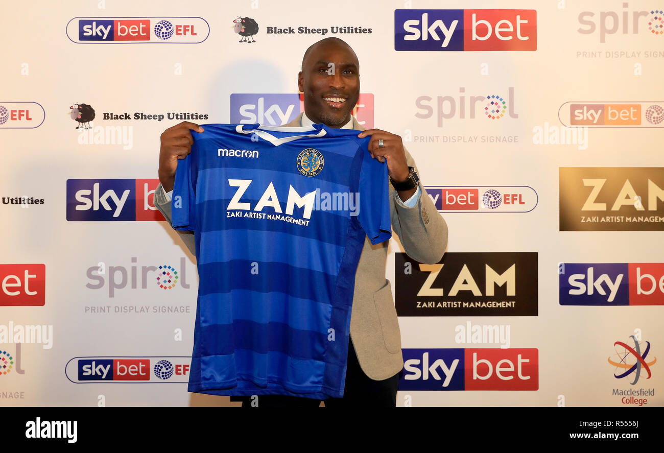 Macclesfield Town's new manager Sol Campbell after the press conference at Moss Rose, Macclesfield.