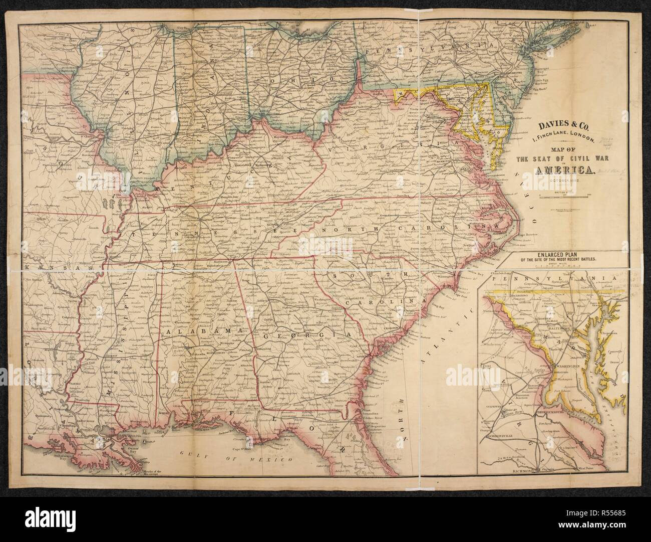 A map of the Seat of Civil War in America. Map of the Seat ...