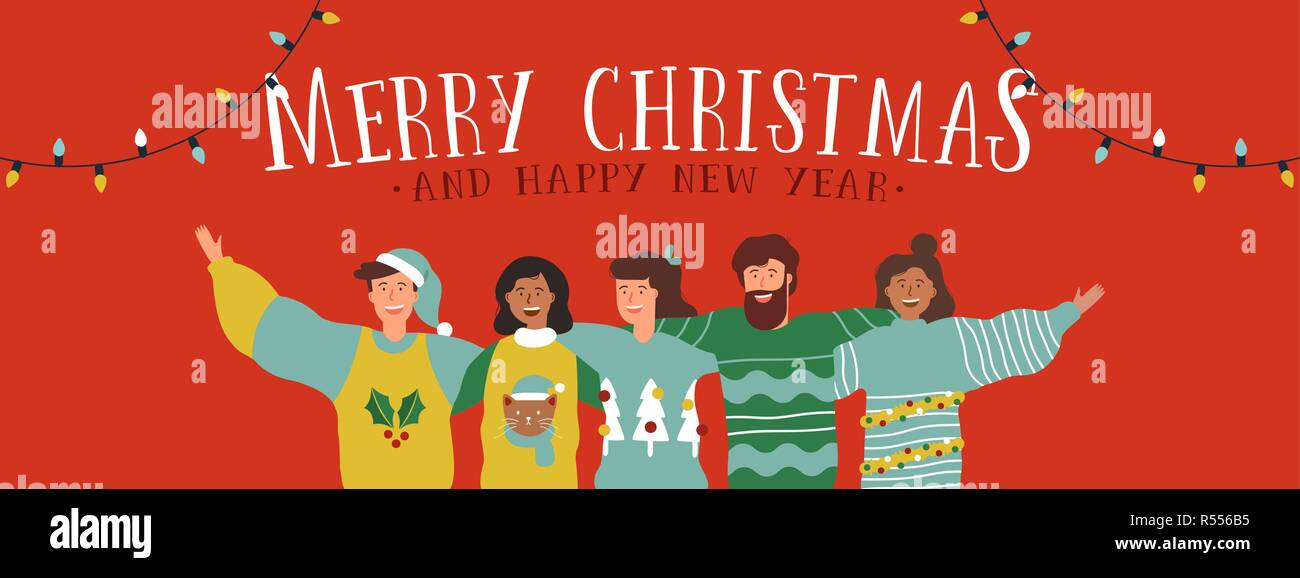 merry christmas and happy new year web banner illustration of young people friend group hugging together at holiday winter party diverse social frien