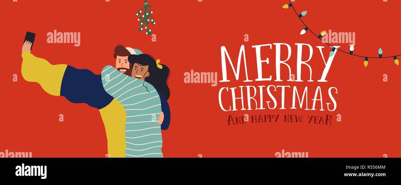 merry christmas and happy new year web banner illustration millennial couple taking selfie under mistletoe branch tree young people posting special