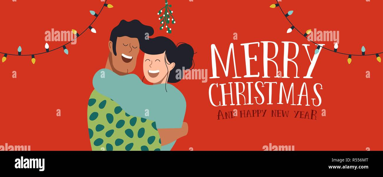 merry christmas and happy new year web banner illustration two friends or couple hugging together for xmas holiday party with text quote