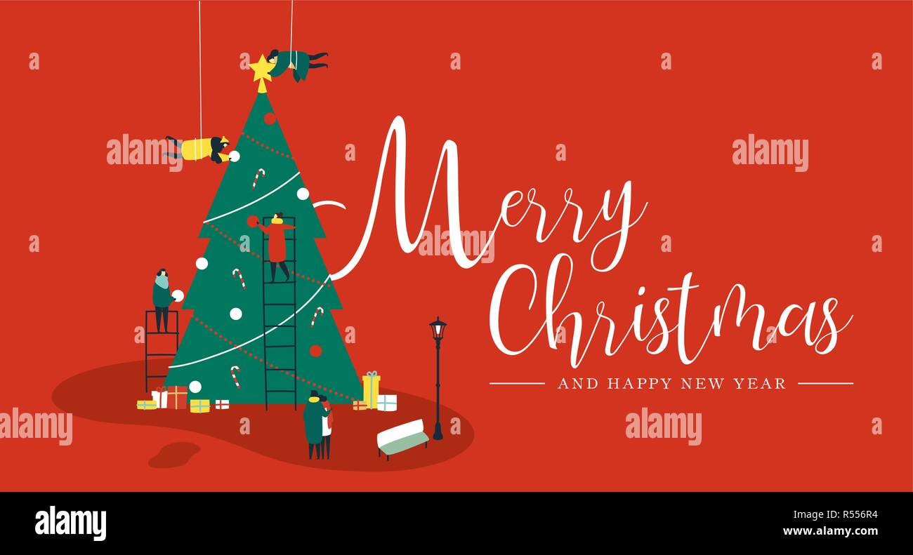 merry christmas and happy new year greeting card people group making big xmas pine tree together for holiday season with ornament decoration gifts a