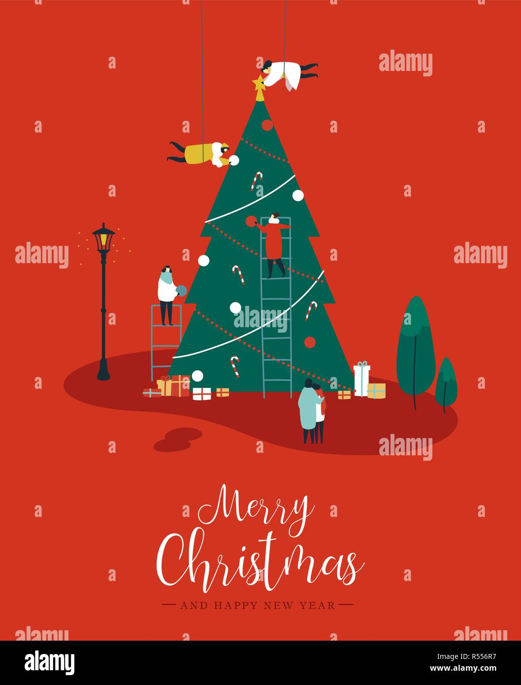 merry christmas and happy new year greeting card people group making big xmas pine tree together for holiday season with ornament decoration gifts