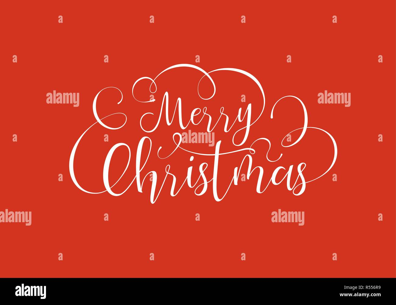 Merry Christmas Calligraphic Greeting Card Or Party Invitation