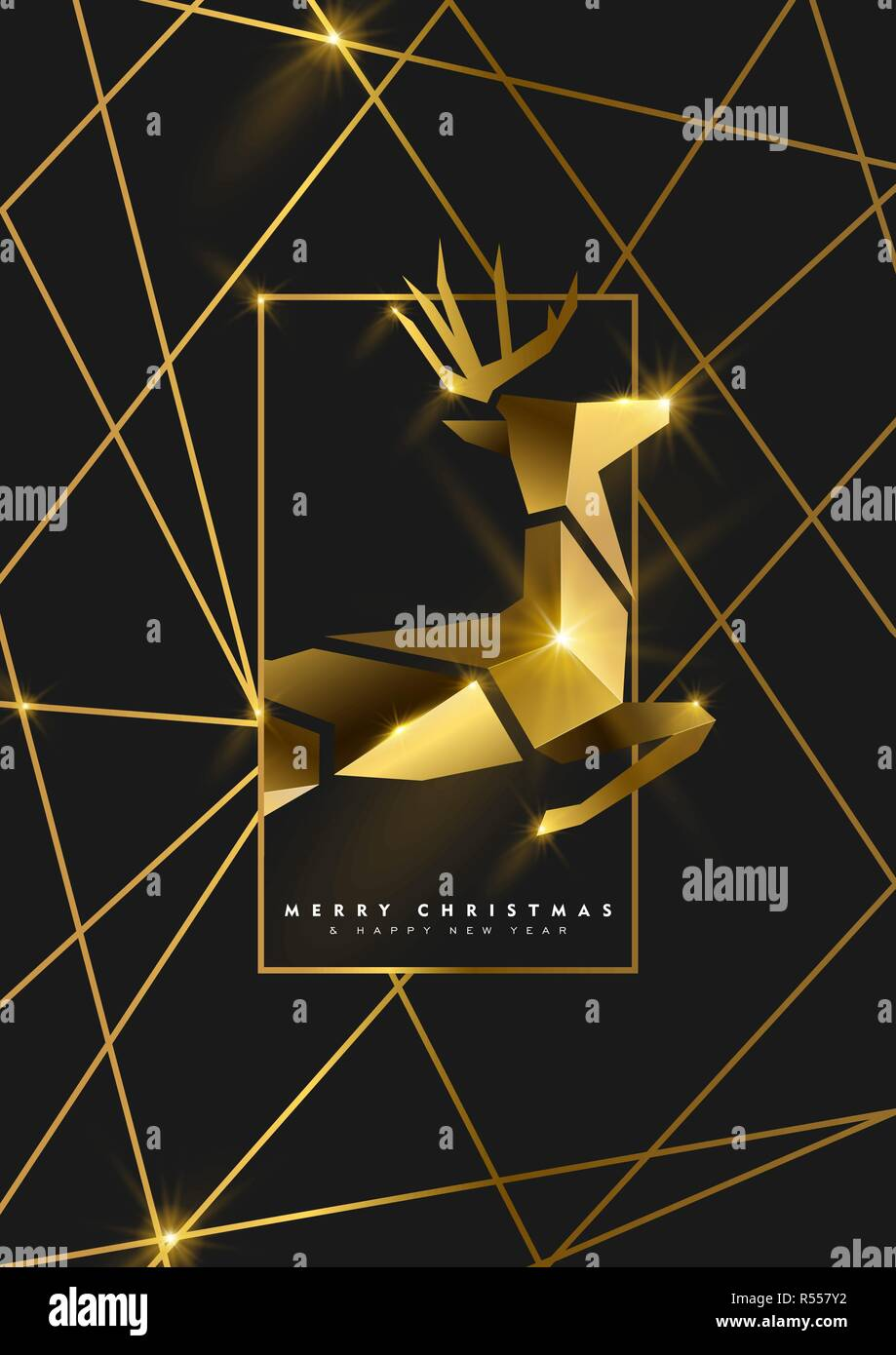merry christmas and happy new year luxury golden greeting card illustration reindeer ornament made of solid gold in 3d art deco style