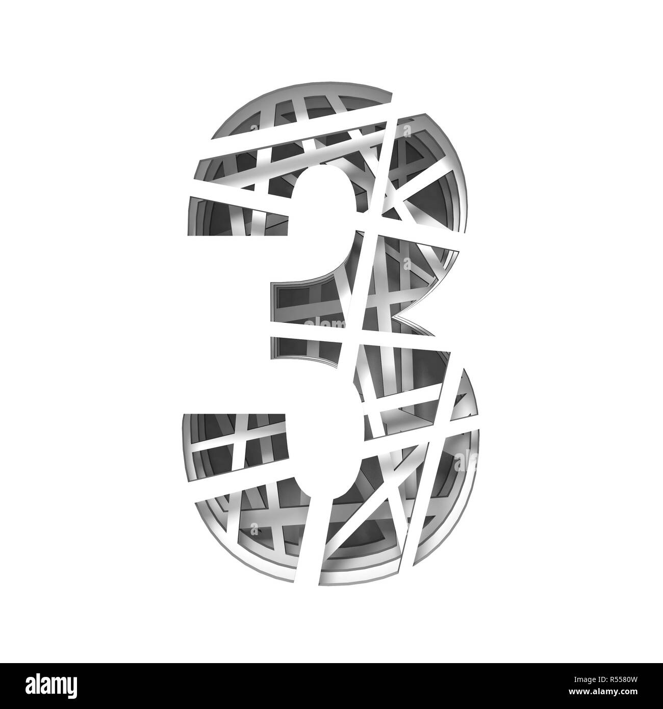 Paper cut out font number THREE 3 3D - Stock Image