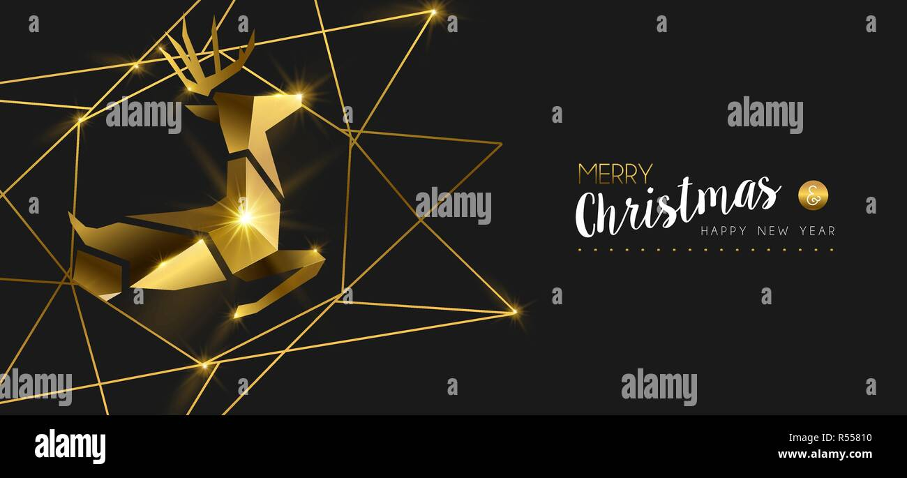 merry christmas and happy new year luxury golden web banner illustration reindeer ornament made of solid gold in 3d art deco style