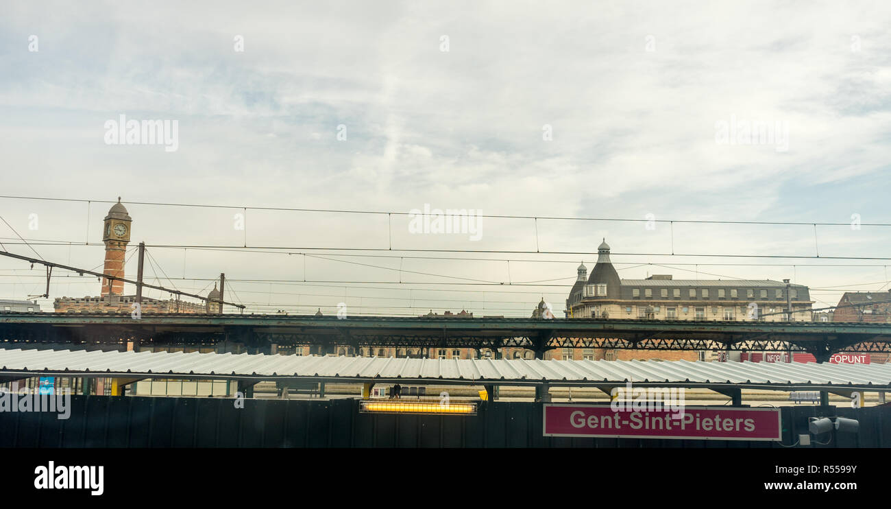Gent St.Pieters, Belgium - 17 February 2018: the Gent railway station early in the morning on 17 February - Stock Image