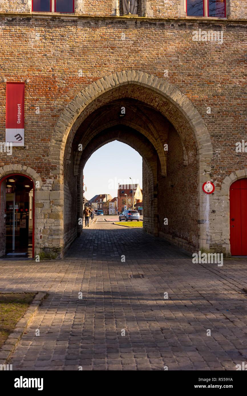 Bruges, Belgium - 17 February 2018:  the Gentpoort in Brugge/Bruges Belgium Stock Photo