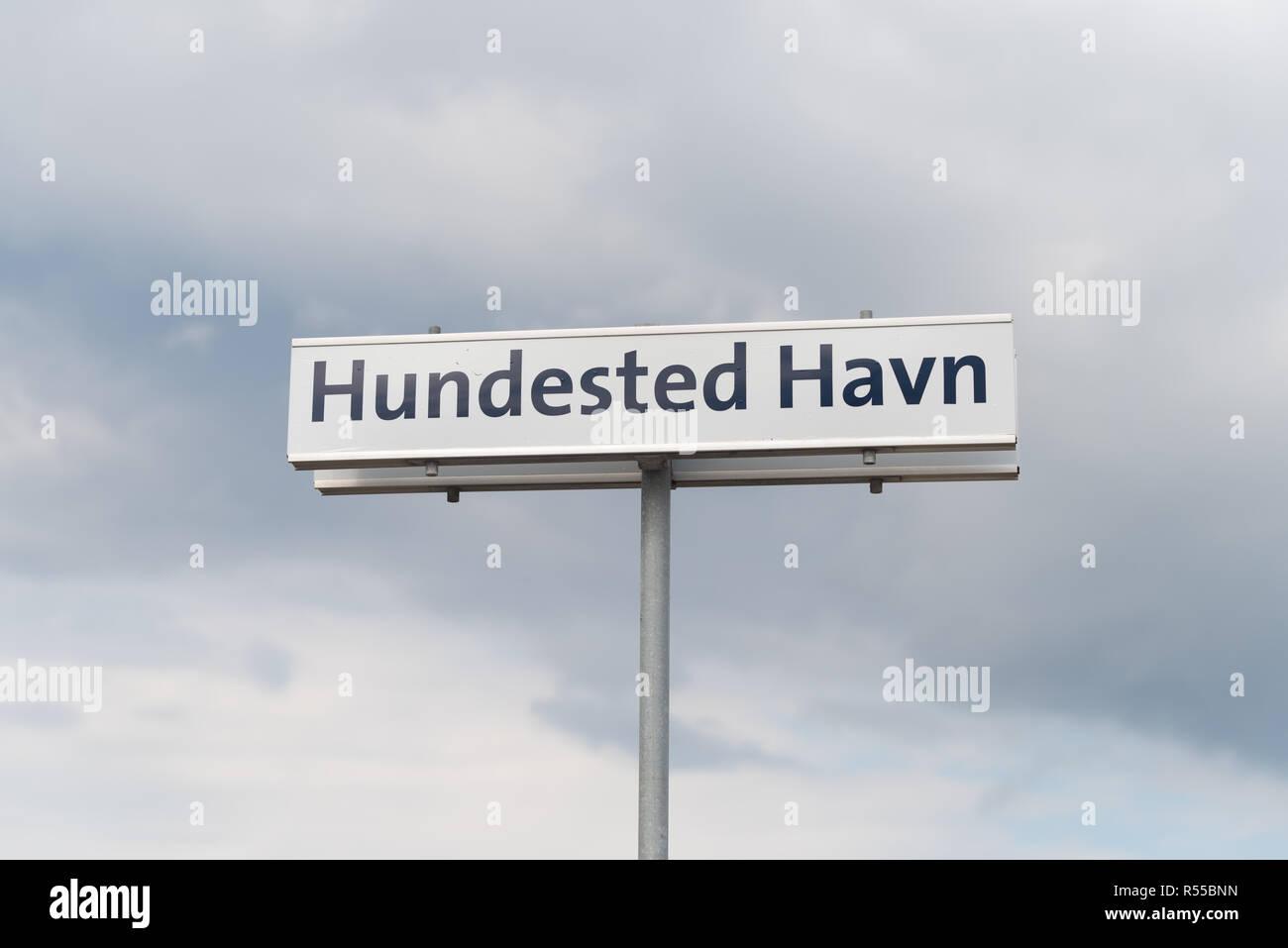 street name shield in denmark - Stock Image