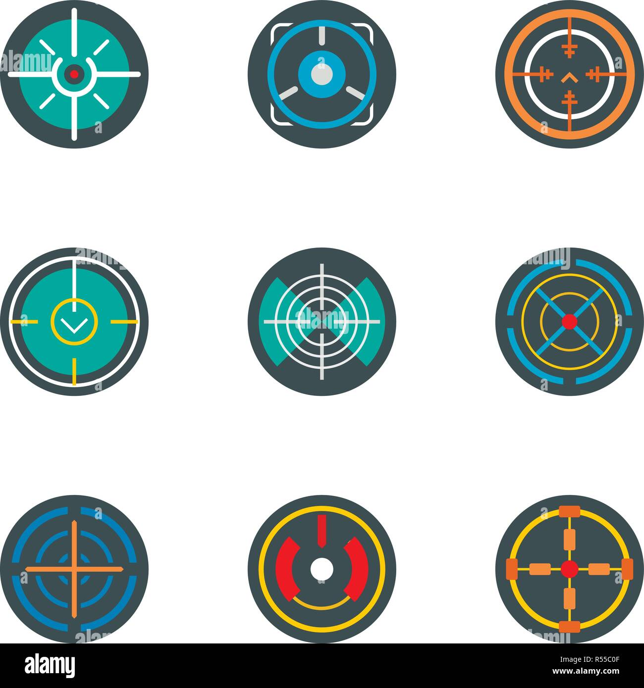 sniper aim icon set flat set of 9 sniper aim vector icons for web design stock vector image art alamy https www alamy com sniper aim icon set flat set of 9 sniper aim vector icons for web design image226927247 html