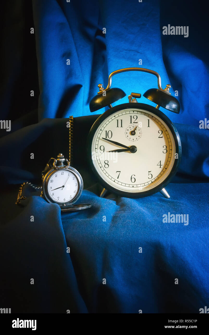 Antique Watch And Alarm Clock - Stock Image