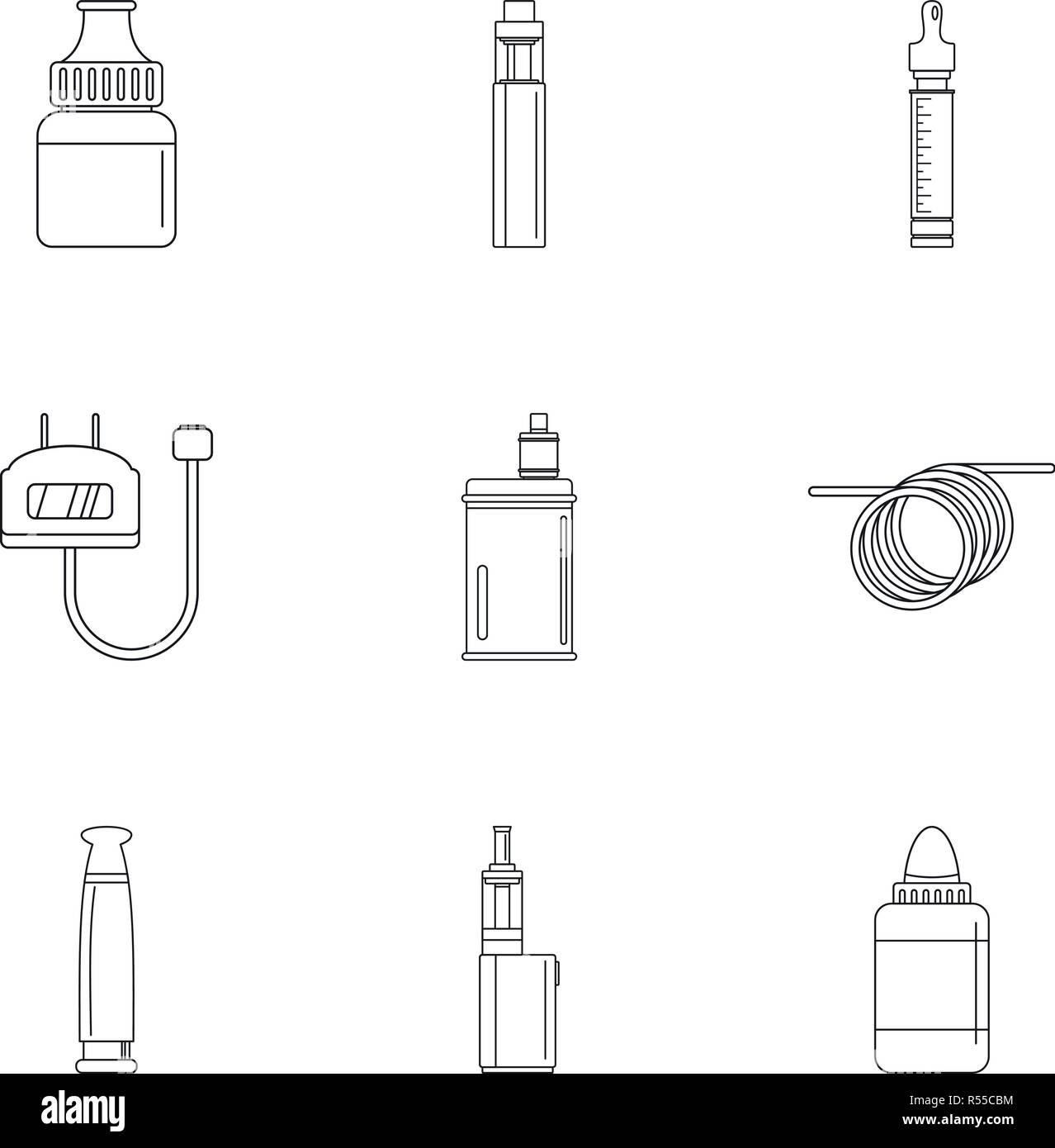 Electronic cigar device icon set. Outline set of 9 electronic cigar device vector icons for web design isolated on white background - Stock Image