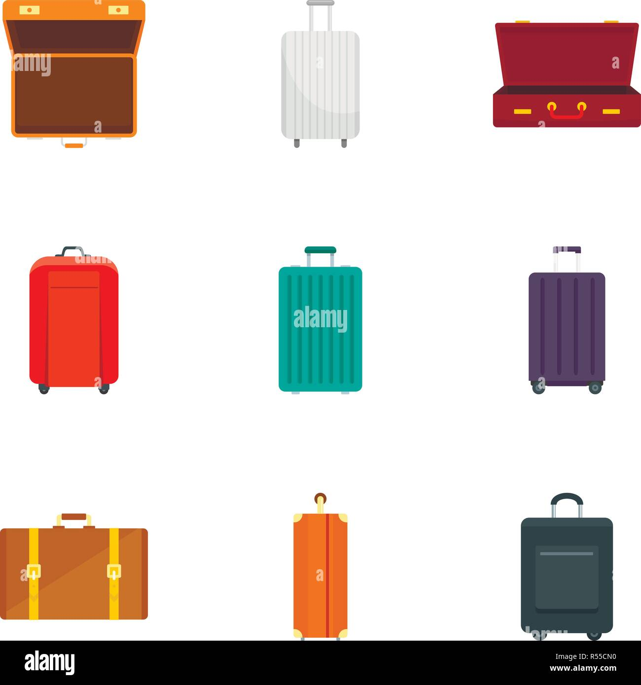 Luggage icon set. Flat set of 9 luggage vector icons for web design - Stock Vector