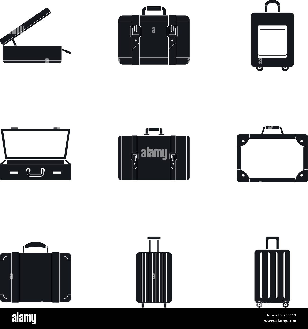 Trip luggage icon set. Simple set of 9 trip luggage vector icons for web design on white background - Stock Vector