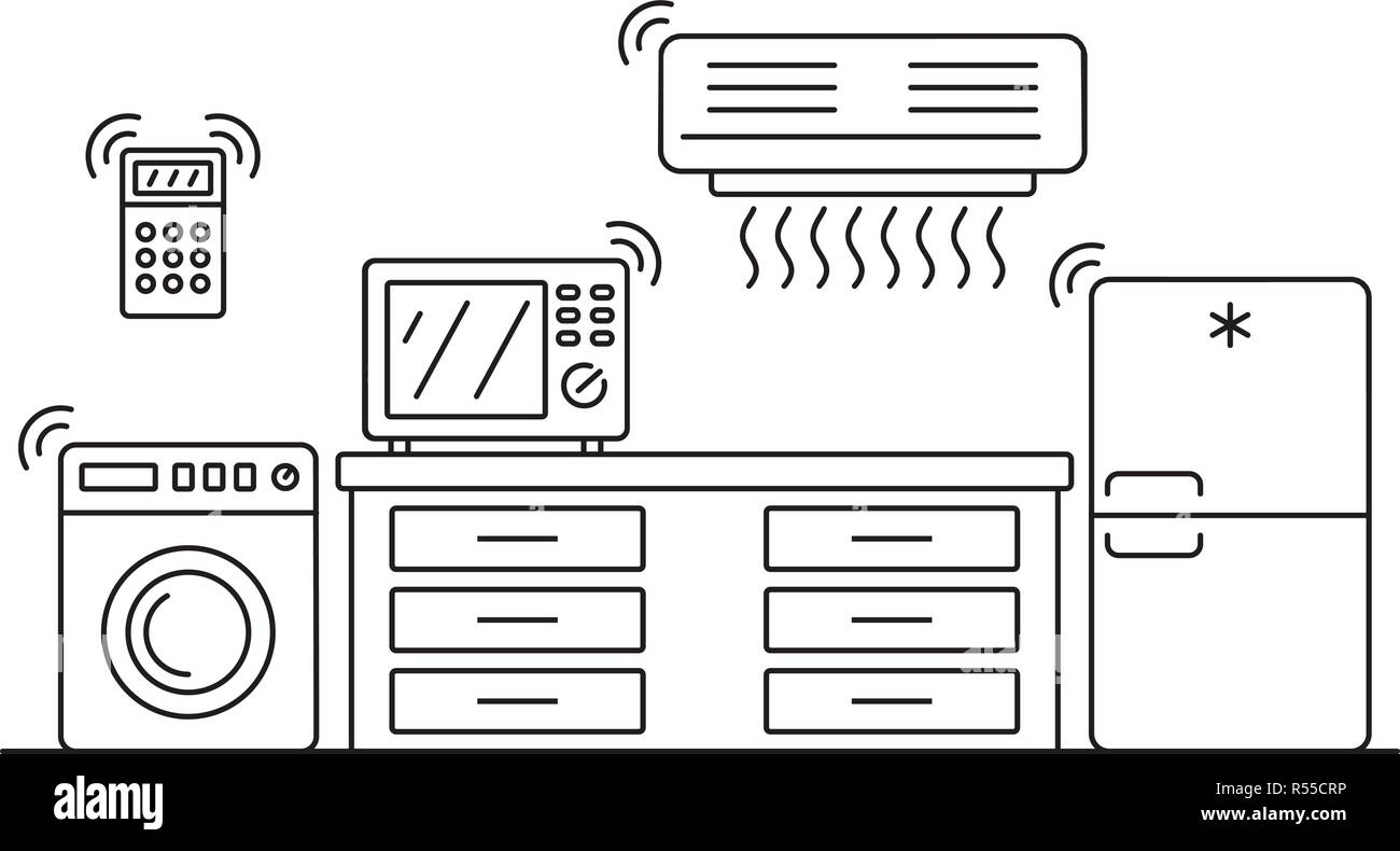 Smart Home Appliances Banner Outline Illustration Of Smart