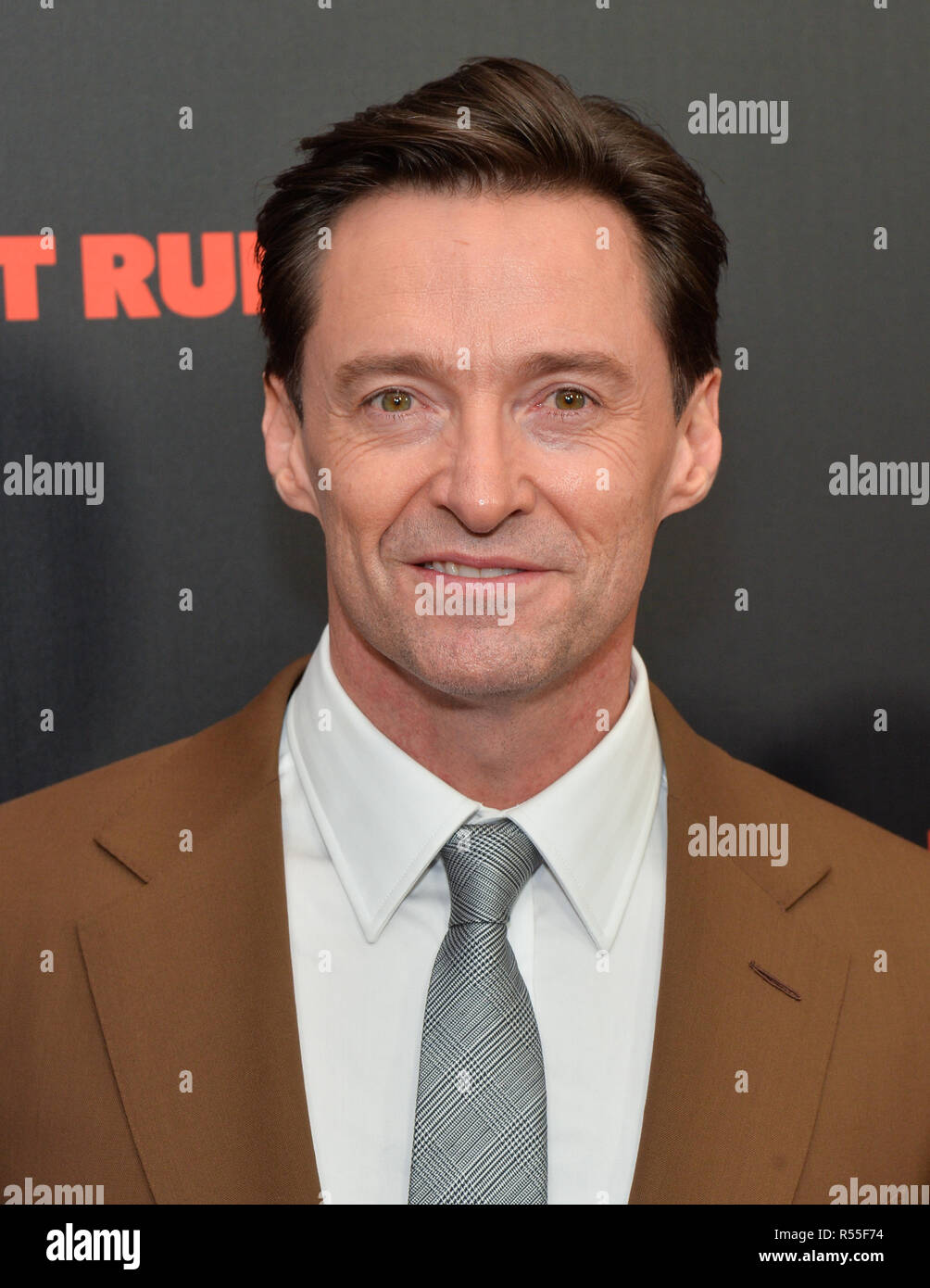 Hugh Jackman attends the New York premiere of 'The Front Runner' at the Museum of Modern Art on October 30, 2018 inNew York City. - Stock Image