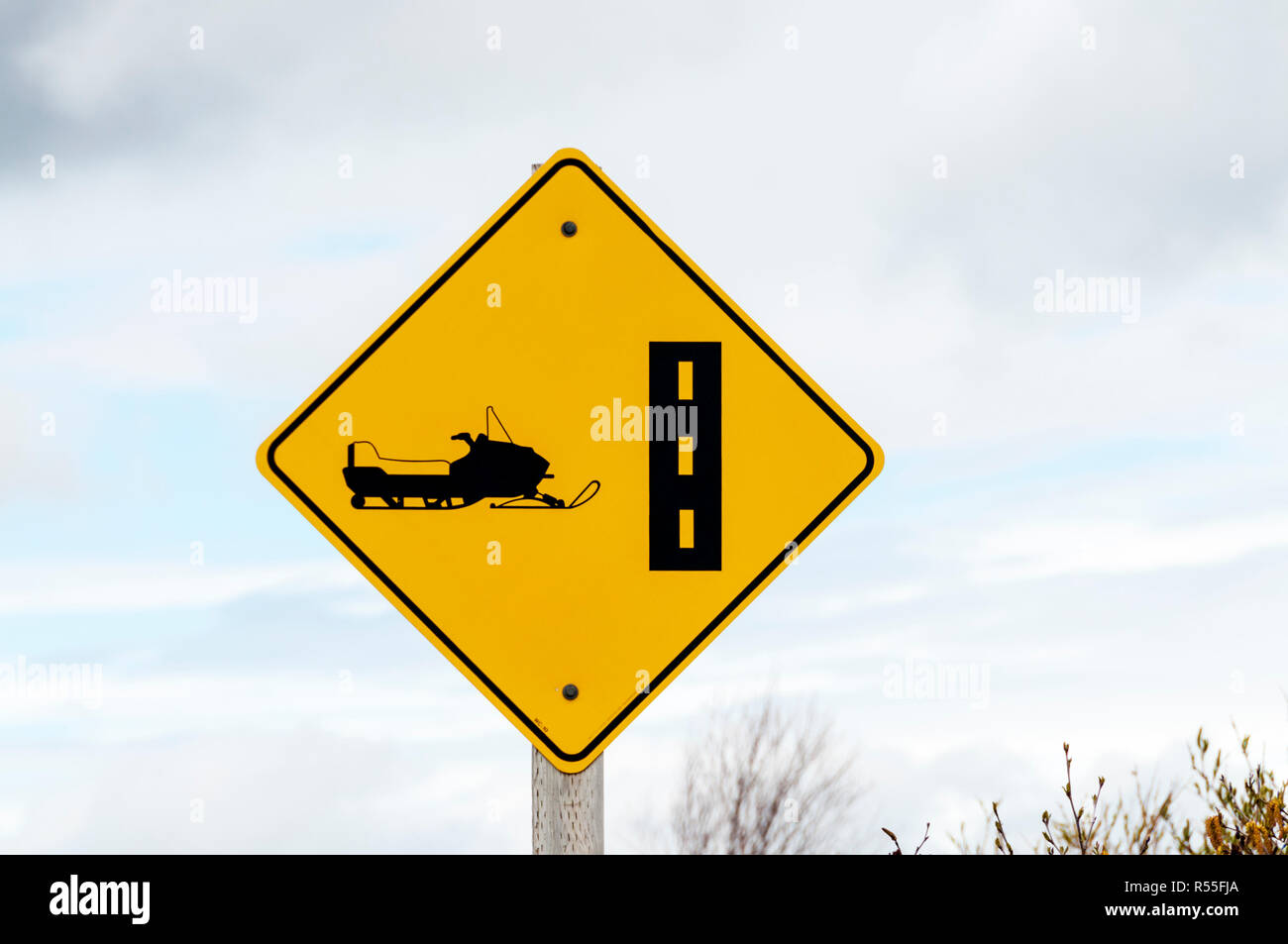 Roadsign for a skidoo or snowmobile trail in Labrador, Canada. - Stock Image