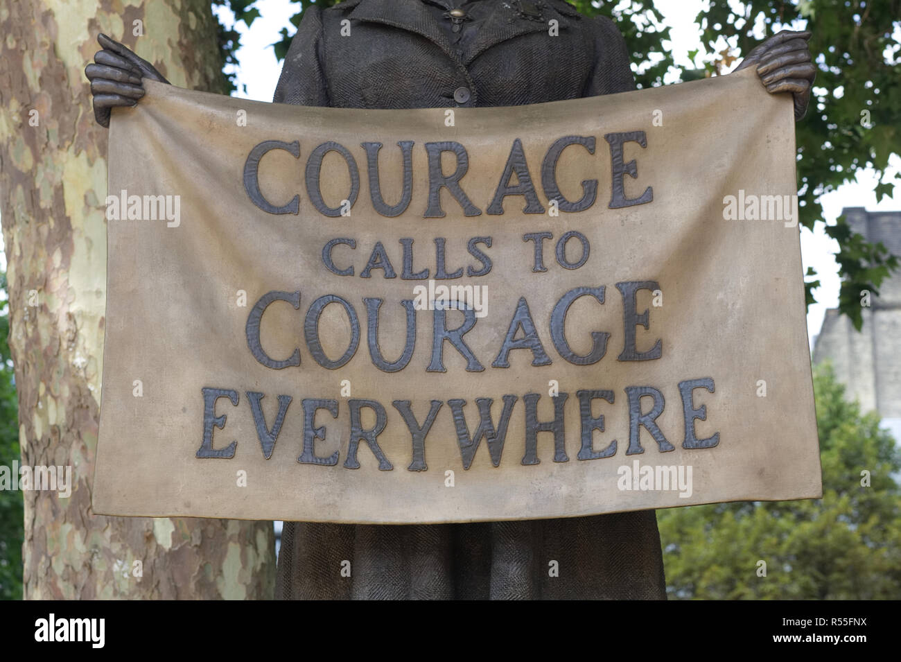 Courage calls to courage everywhere Plaque. Millicent Fawcett in Parliament Square - Stock Image