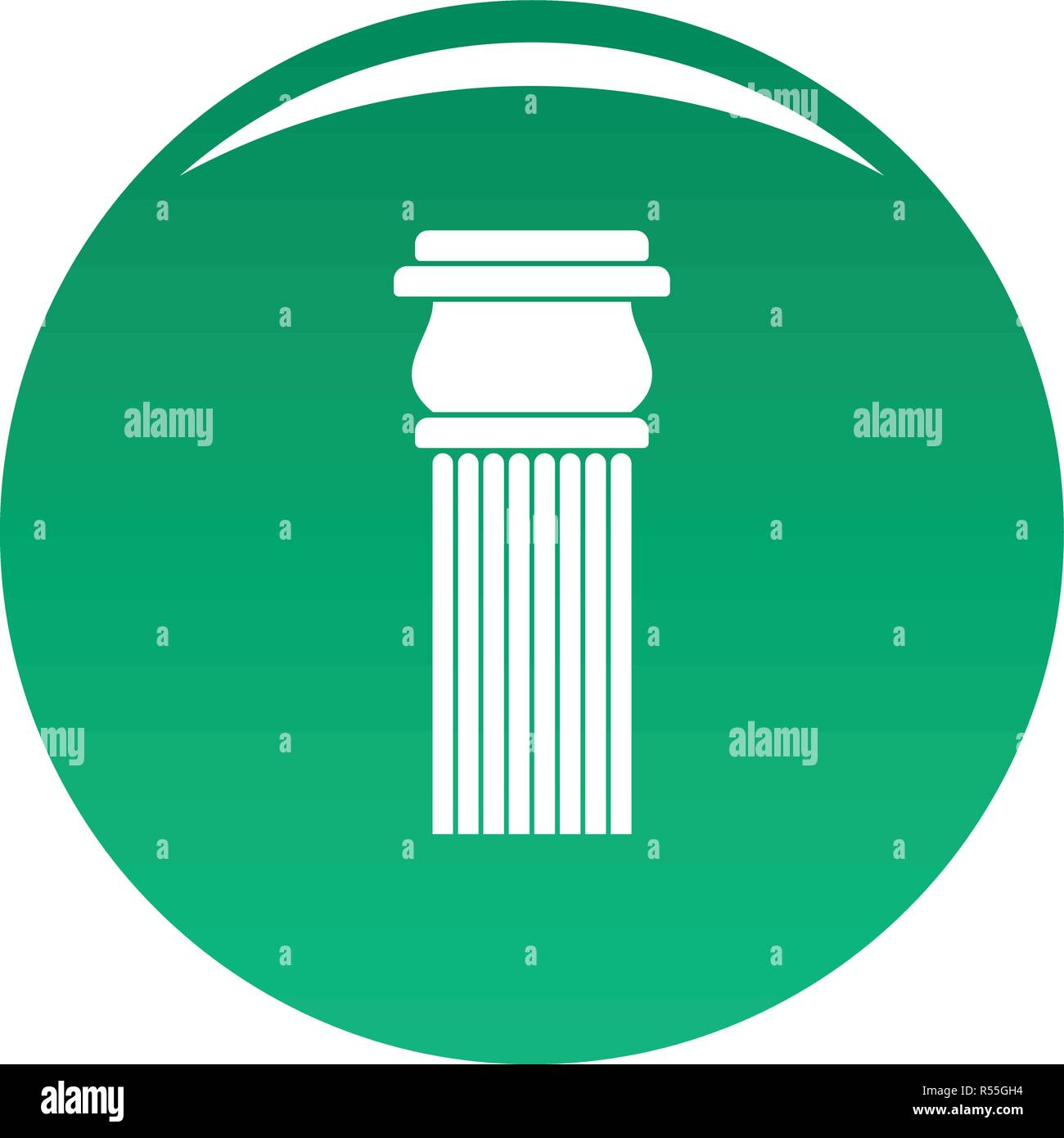 Stone column icon. Simple illustration of stone columnbaseball cap vector icon for any design green - Stock Image