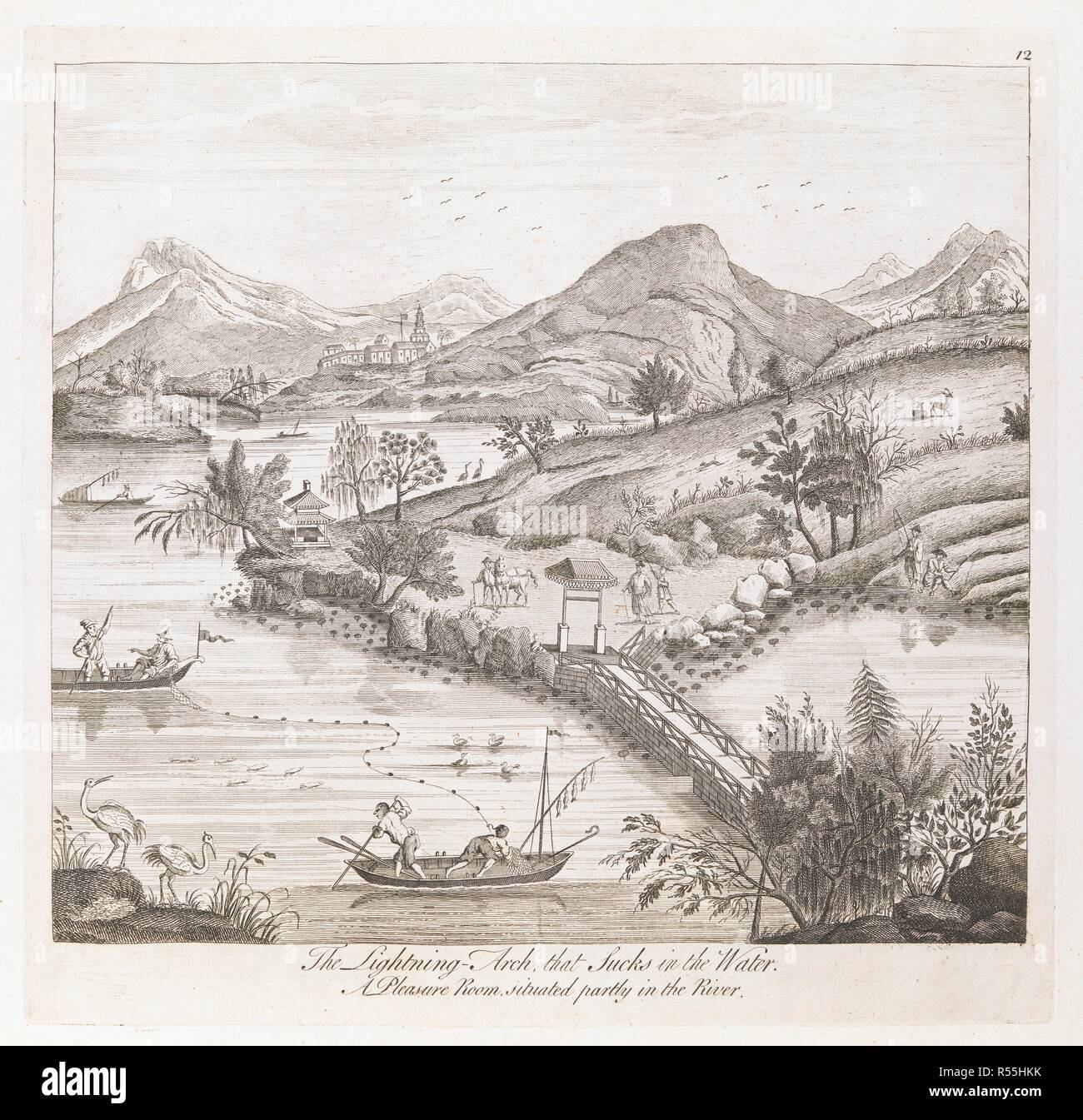 A View Of A Lake Or River With Birds And Fishermen On The Left And A