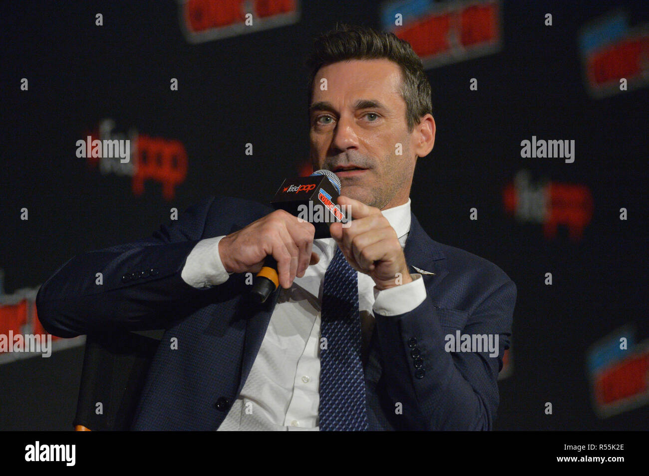 Jon Hamm attends the 'Good Omens' TV show panel at New York Comic Con on October 6, 2018 in New York City. - Stock Image