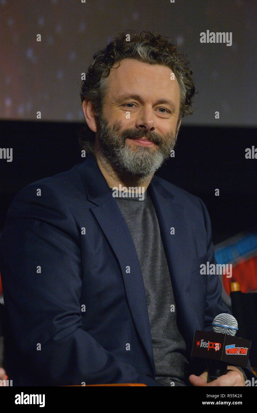 Michael Sheen attends the 'Good Omens' TV show panel at New York Comic Con on October 6, 2018 in New York City. - Stock Image