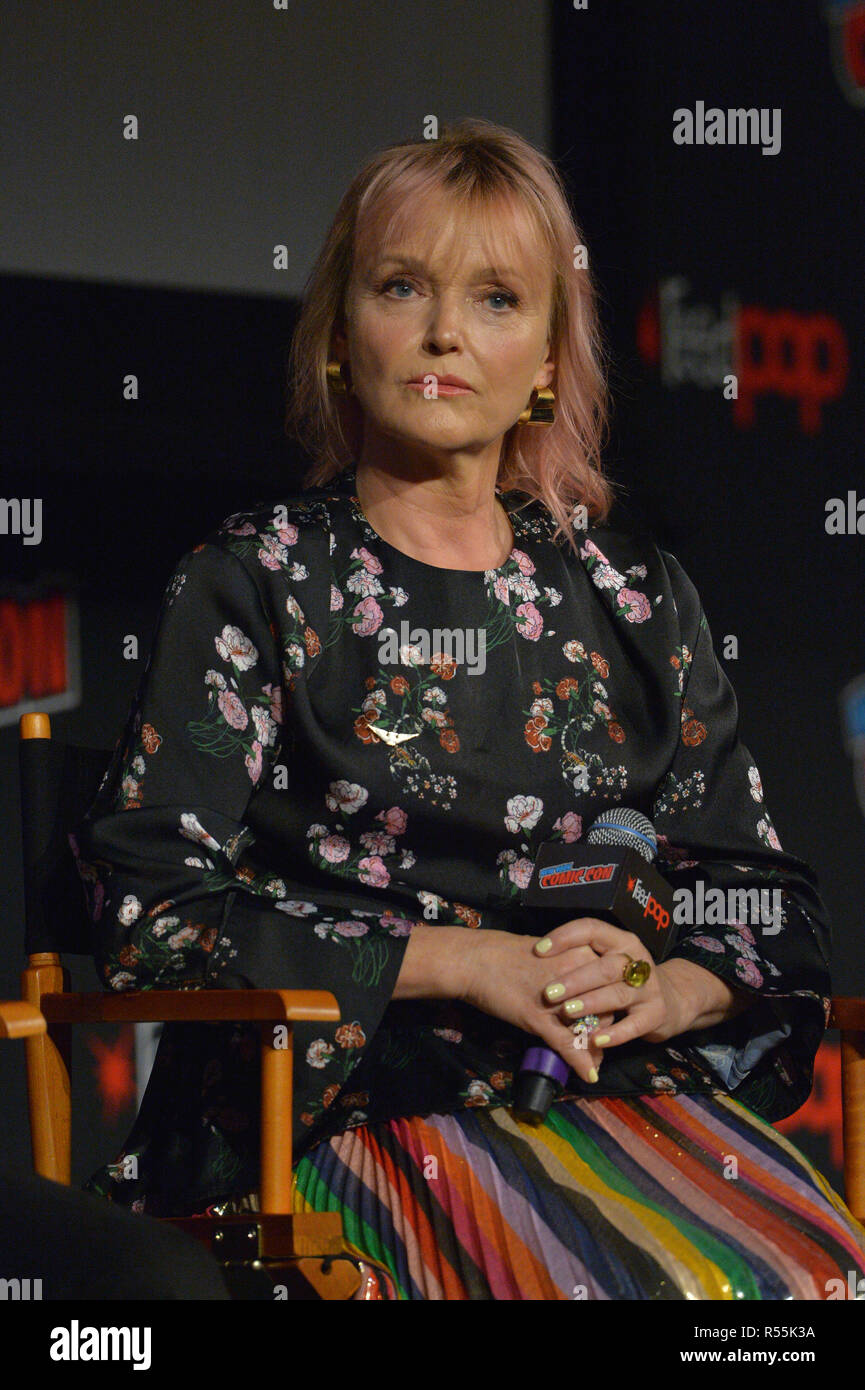 Miranda Richardson attends the 'Good Omens' TV show panel at New York Comic Con on October 6, 2018 in New York City. - Stock Image