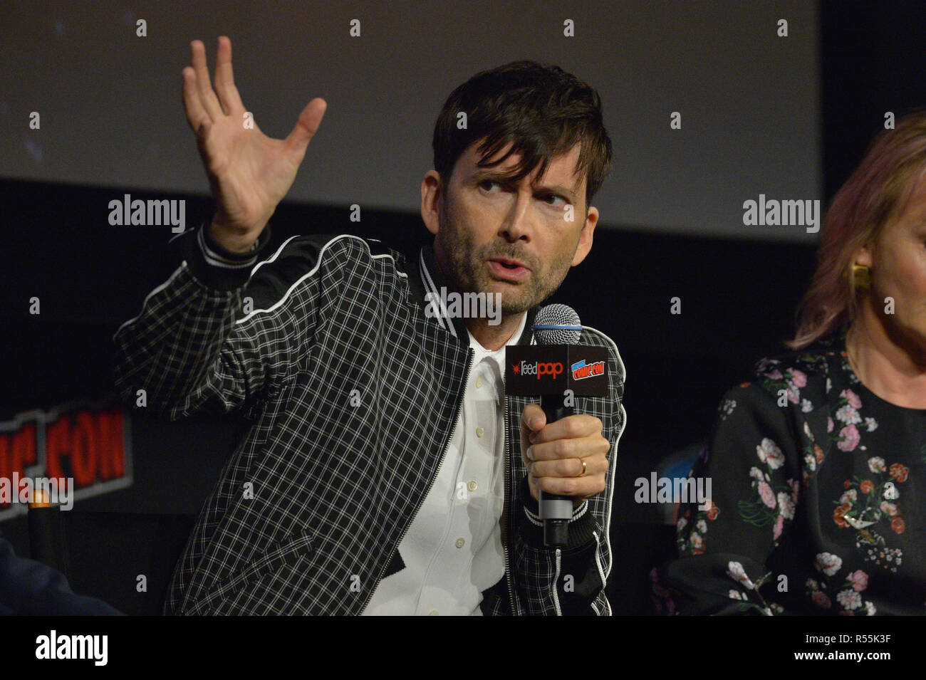 David Tennant attends the 'Good Omens' TV show panel at New York Comic Con on October 6, 2018 in New York City. - Stock Image