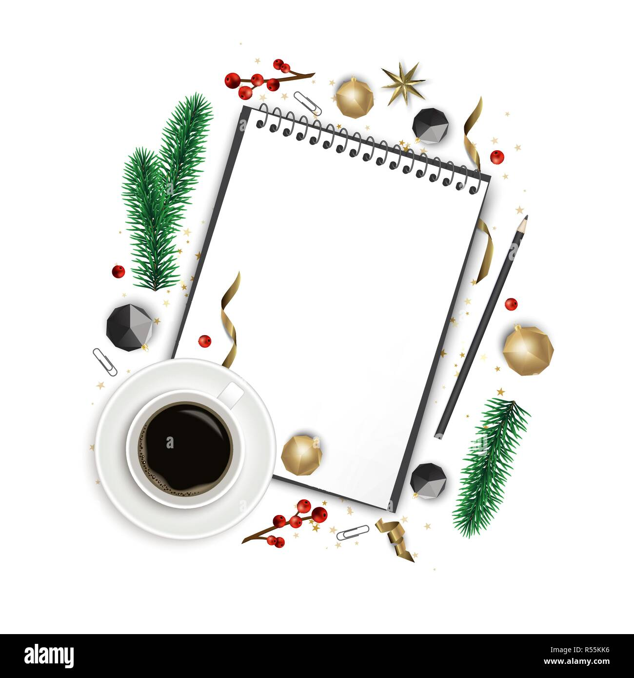 Christmas composition. Paper blank, christmas tree branches, golden decorations on white background. Flat lay, top view - Stock Vector