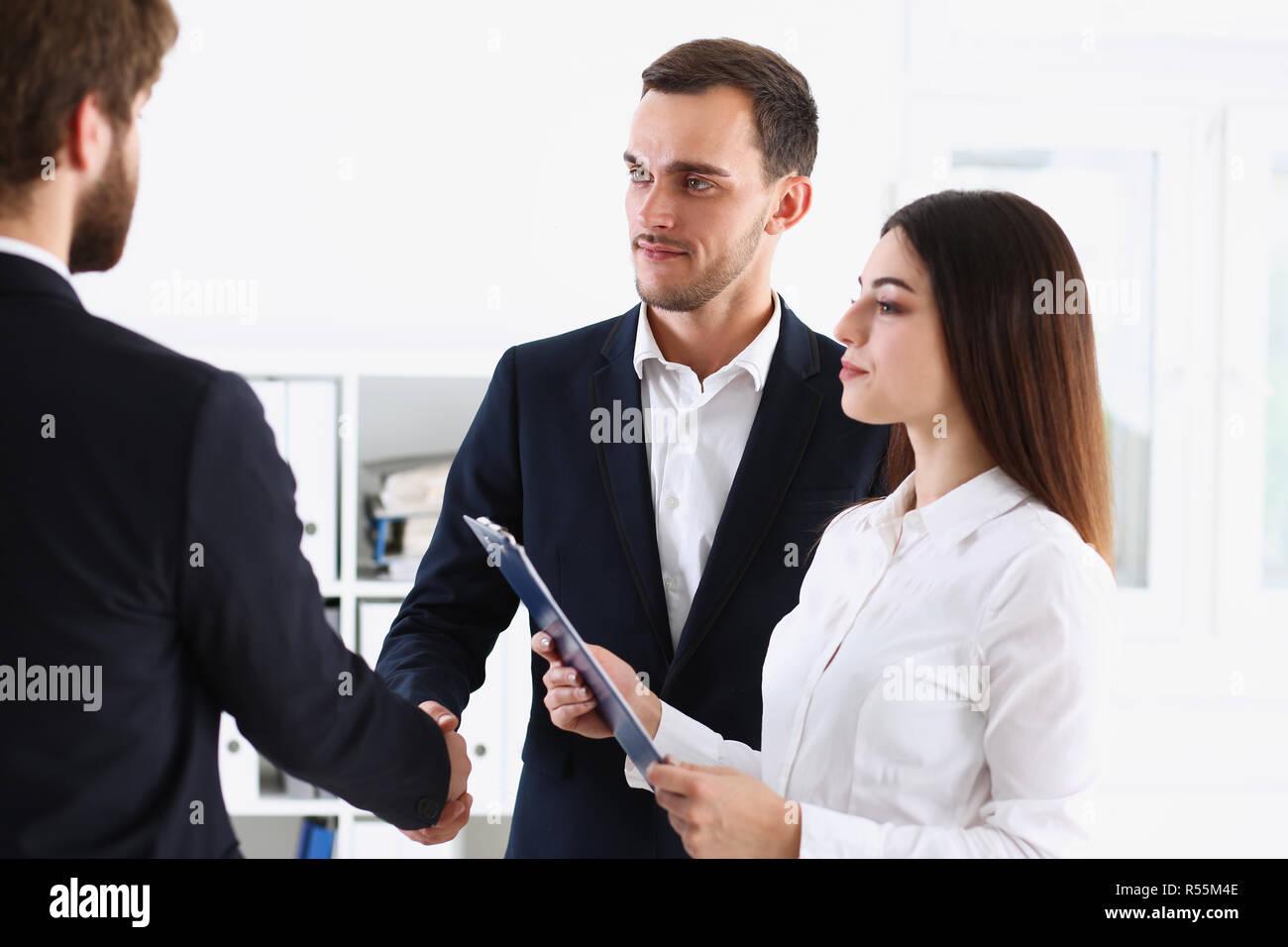 Escort service interpreter works with transaction - Stock Image