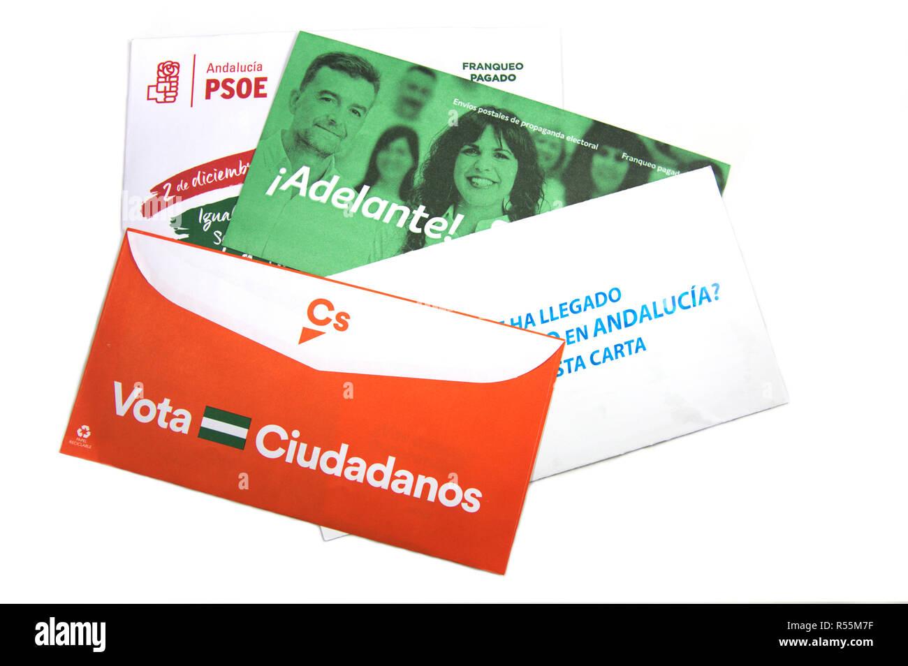 Some envelopes of electoral propaganda for the elections of the Junta de Andalucía of 2018 - Stock Image