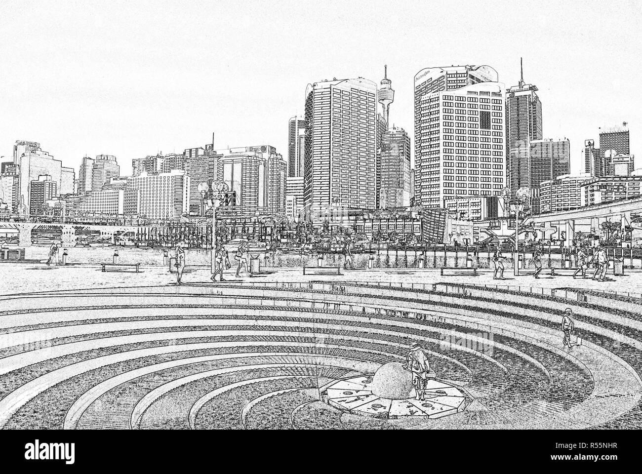 Spiral fountain, Darling harbor, Sydney, Australia (illustration) - Stock Image
