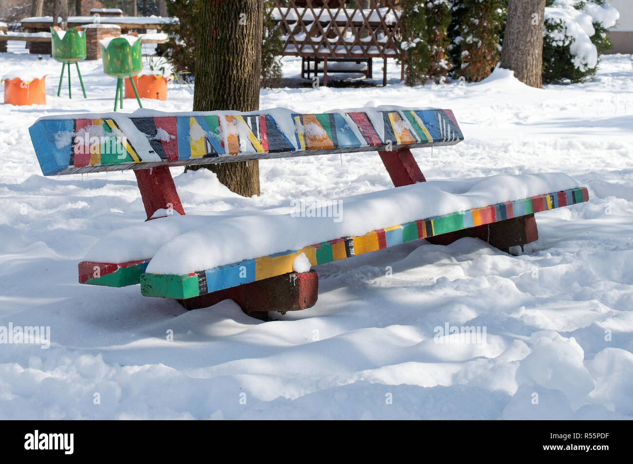 Idyllic scene of winter day - Stock Image