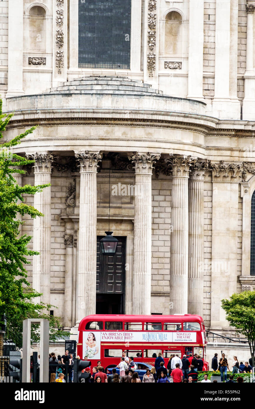 United Kingdom Great Britain England City of London Peter's Hill view of St Paul's Cathedral exterior outside south transept semicircular portico Cori - Stock Image