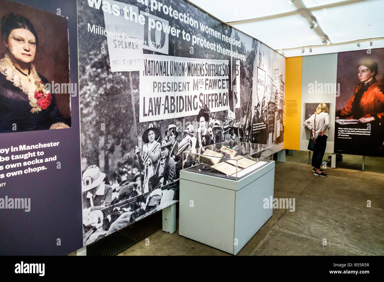 United Kingdom Great Britain England London Palace of Westminster Parliament Westminster Hall interior exhibition Voice & Vote: Women's Place in Parli - Stock Image