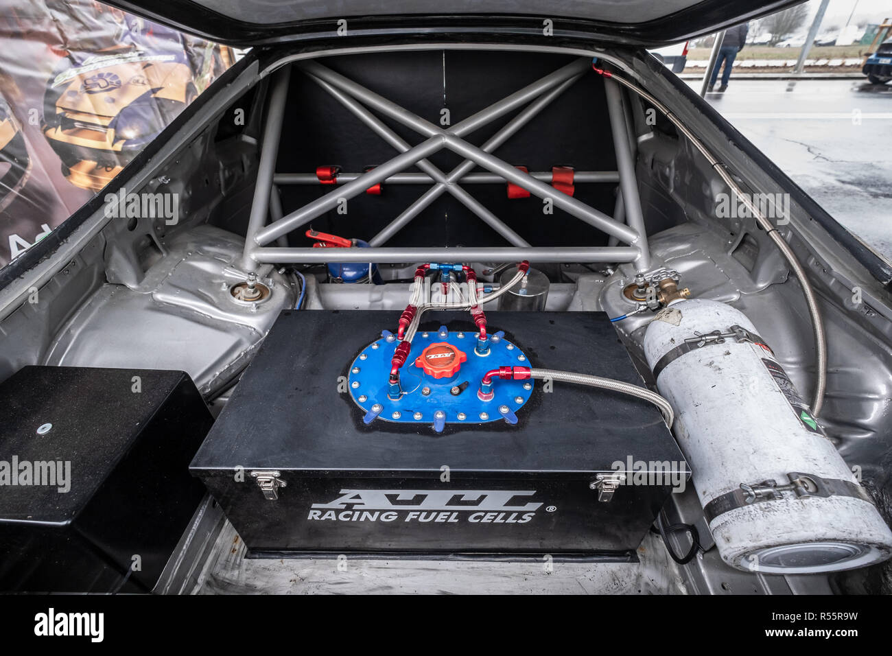 Zgierz / Poland November 24, 2018: drift car trunk with the fuel installations inside - Stock Image